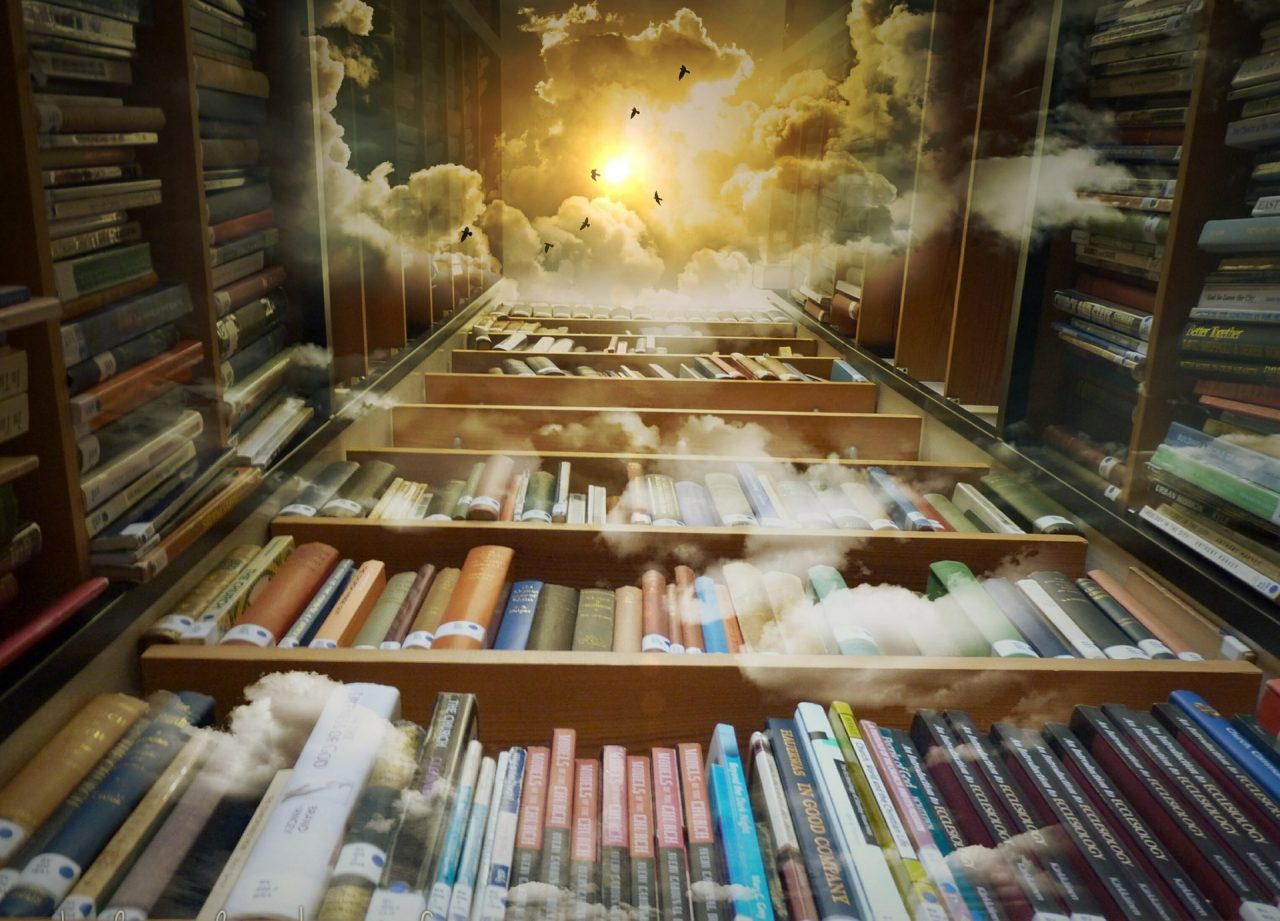 Bücherregale, die in den Himmel ragen