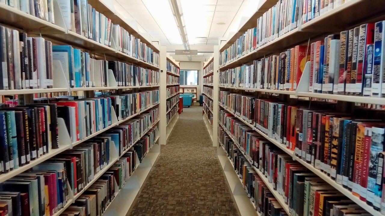 Ein Gang mit vielen Bücherregalen.