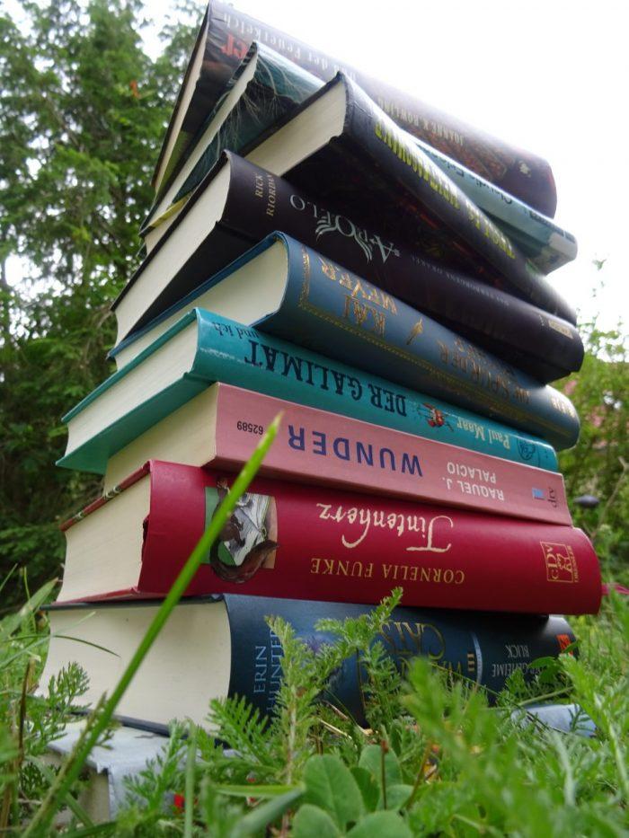 Bücherstapel im Gras.